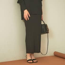 【セットアップ対応】ストレッチリブタイトスカート (ブラック)