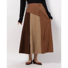 フェイクスウェード配色スカート (キャメル)