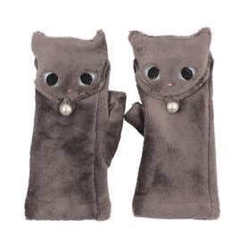 婦人 ジャージ手袋 指なし フード (グレー)