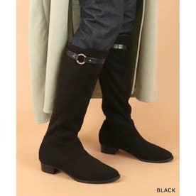 ストレスフリー/晴雨兼用ソフトストレッチ 3WAYベルトロングブーツ (BLACK)