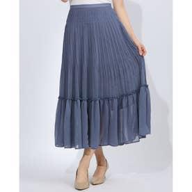 プリーツシフォンスカート (BLUE)