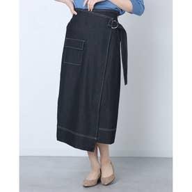 ストレースデニムスカート (BLACK)