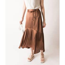 【選べる丈感】裾切り替えサテンスカート (BROWN)