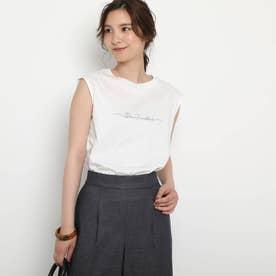 【接触冷感/UVカット/洗える】ノースリーブロゴTシャツ (アイボリー)
