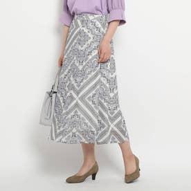 ペイズリースカーフプリントスカート (ライトパープル)