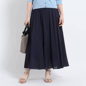 【洗える】ミディ丈ローンスカート (ネイビー)