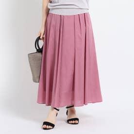 【洗える】ミディ丈ローンスカート (ピンク)