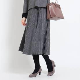 【WEB限定カラーあり】チェックリバーニットスカート (ブラック)