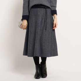 【WEB限定カラーあり】チェックリバーニットスカート (ネイビー)