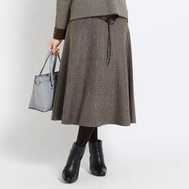 【WEB限定カラーあり】チェックリバーニットスカート (タバコブラウン)