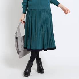 【WEB限定カラーあり】ニットプリーツスカート (グリーン)