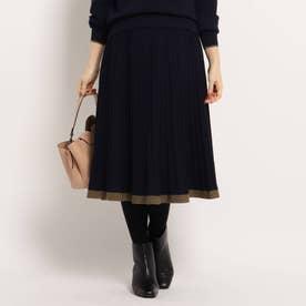 【WEB限定カラーあり】ニットプリーツスカート (ネイビー)