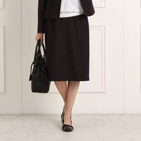 【フォーマル/入卒/ママスーツ】無地ツィードソフトタイトスカート (ブラック)
