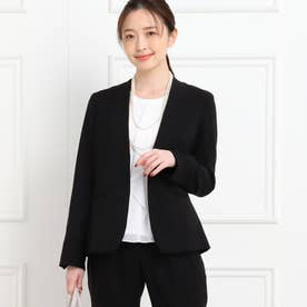 【フォーマル/入卒/ママスーツ/洗える】カラーレスツイルジャケット (ブラック)