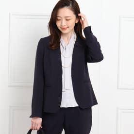 【フォーマル/入卒/ママスーツ/洗える】カラーレスツイルジャケット (ネイビー)