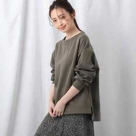 【洗える】プレミアムコットンダンボールトップス (カーキ)