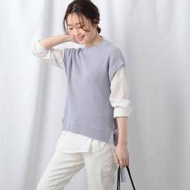 【洗える】シャツ袖ニットベスト+シャツヘムセット (サックス)