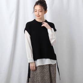【洗える】シャツ袖ニットベスト+シャツヘムセット (ブラック)