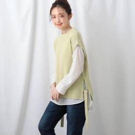 【洗える】シャツ袖ニットベスト+シャツヘムセット (レモンイエロー)
