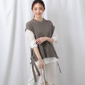 【洗える】シャツ袖ニットベスト+シャツヘムセット (ベージュ)