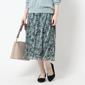 【WEB限定カラーあり/洗える】シャドーフラワープリントフレアスカート (ライトグリーン)