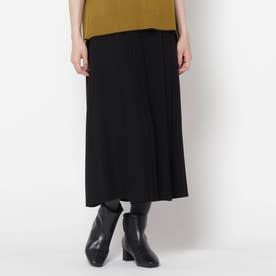 【洗える】ウーリー調スカーチョパンツ (ブラック)