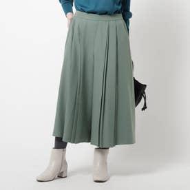 【洗える】ウーリー調スカーチョパンツ (ライトグリーン)