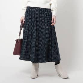 【WEB限定カラーあり/洗える】コツキ柄プリーツニットスカート (ネイビー)