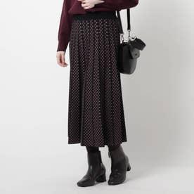 【WEB限定カラーあり/洗える】コツキ柄プリーツニットスカート (ブラック)