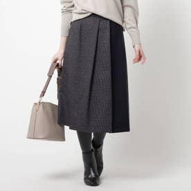 【WEB限定カラーあり】ハイブリットツイードスカート (ネイビー)