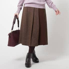 【WEB限定カラーあり】ハイブリットツイードスカート (レットプラム)
