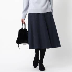【洗える】コツキ柄ジャガードフレアスカート (ネイビー)