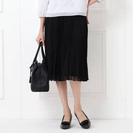 【フォーマル/入卒/ママスーツ/洗える】プリーツシフォンスカート (ブラック)