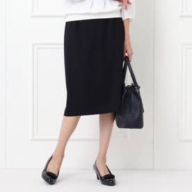 【フォーマル/入卒/ママスーツ】無地ツィードソフトタイトスカート (ネイビー)