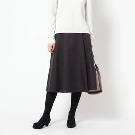 【洗える】コツキ柄ジャガードフレアスカート (ブラック)