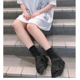 【20SS新作】【weewillie】W厚底ソールバンドストラップサンダル (ブラック)
