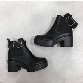 【20AW新作】【R&E】ベルト付厚底サイドゴアブーツ (ブラック)