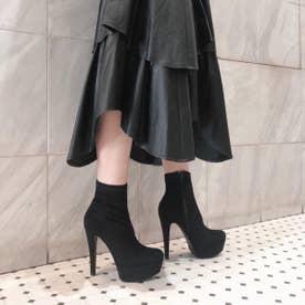 【20AW新作】【R&E】ハイヒールスーパー美脚ショートブーツ (ブラックスエード)