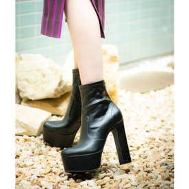 【20AW新作】【R&E】太ヒールストレッチショートブーツ (ブラック)
