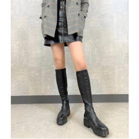【R&E】厚底ラバーソールストレッチロングブーツ (ブラック)