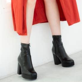 【20AW新作】【R&E】スクエアトゥ太ヒールショートブーツ (ブラック)
