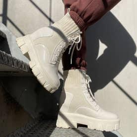 【20AW新作】【R&E】ニット×エナメルインヒールレースアップショートブーツ (ホワイトエナメル)