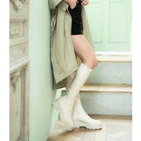 【21SS新色】【R&E】厚底ラバーソールストレッチロングブーツ (アイボリー)