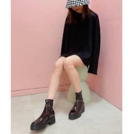 【21SS 新色】【R&E】厚底ラバーソールストレッチショートブーツ (ブラックエナメル)