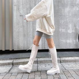 【21SS新作】【R&E】厚底ラバーソールソックスレースアップロングブーツ (アイボリー)