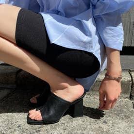 【21SS新作】【R&E】スクエアトゥワイドカバートングサンダル (ブラック)