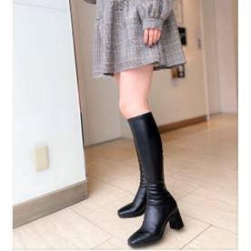 【21AW新作】【R&E】センターシームスクエアトゥストレッチロングブーツ (ブラック)