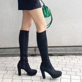 【21AW新作】【REZOY】ストーム付きストレッチロングブーツ (ブラックスエード)