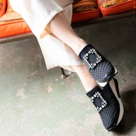 【REZOY】ビジューバックル厚底スニーカー (ブラック)