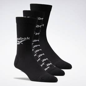 クラシックス フォールドオーバー クルー ソックス 3足組 / Classics Fold-Over Crew Socks 3 Pairs (ブラック)